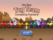 Game Dirt bike tug team comparing fractions